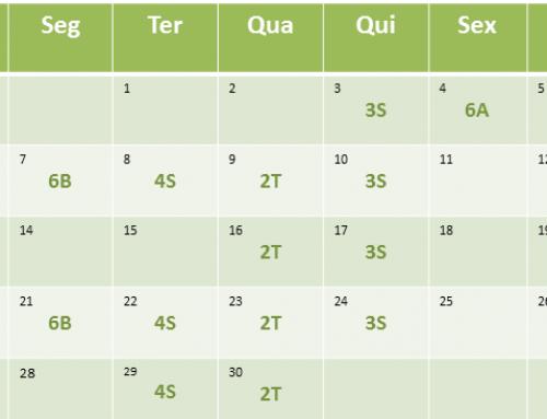 Cronograma de aulas de Novembro de 2016
