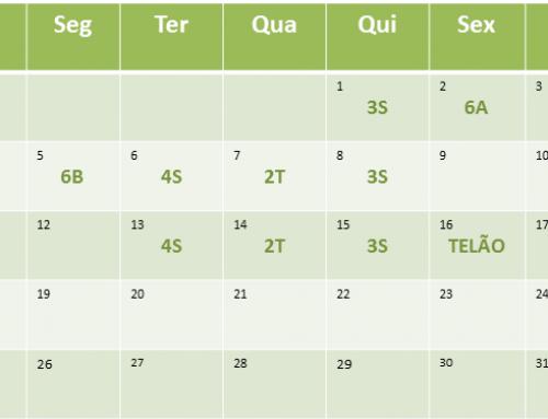 Cronograma de aulas de Dezembro de 2016