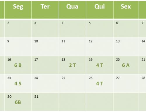 Cronograma de aulas de Janeiro de 2017