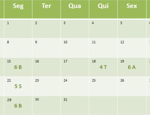 Cronograma de aulas de Janeiro de 2018