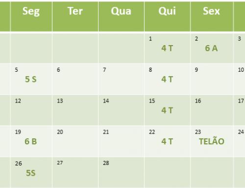 Cronograma de aulas de Fevereiro de 2018