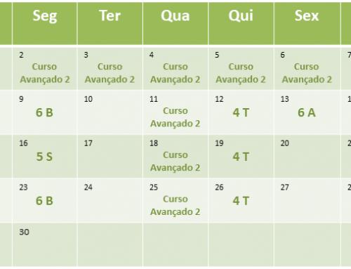 Cronograma de aulas de Abril de 2018