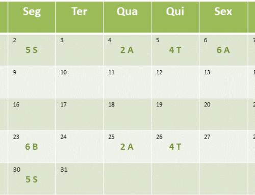 Cronograma de aulas de Julho de 2018
