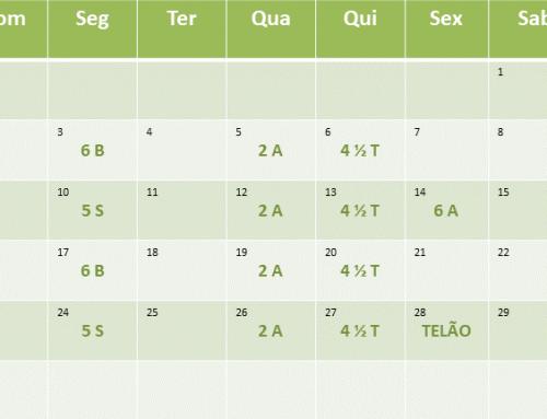 Cronograma de aulas de Setembro de 2018