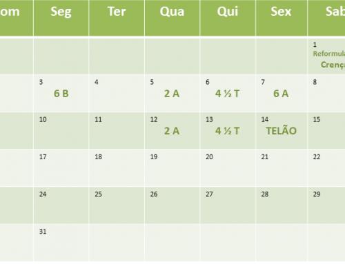 Cronograma de aulas de Dezembro de 2018