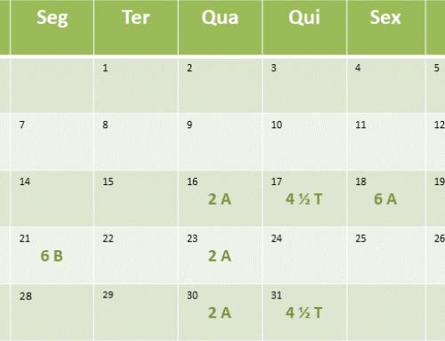 Cronograma de aulas de Janeiro de 2019