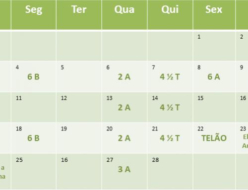 Cronograma de aulas de Fevereiro de 2019