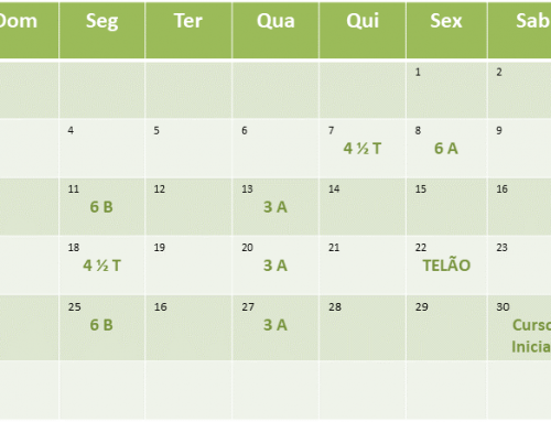Cronograma de aulas de Março de 2019