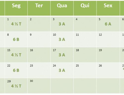 Cronograma de aulas de Abril de 2019