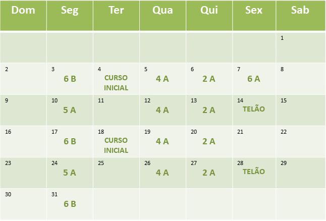 Cronograma de aulas de Agosto de 2020